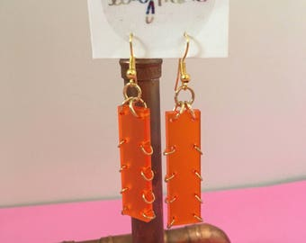 Orange Frosted Gold Plated Earrings