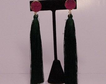 Green Fringe earrings with red drusen quartz stone