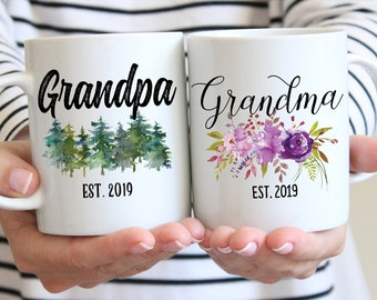 Pregnancy Reveal To Grandparents, Grandma Grandpa Mug Set, Pregnancy Announcement Grandparents, New Grandparents Gift, Future Grandma