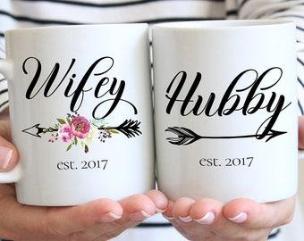 Hubby and Wifey Mug, Wife Gift, Wifey Gift, Wedding Gift, Mr and Mrs, Wedding Mugs, Custom Mugs, Bridal Shower Gift, Anniversary Gift