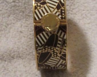 Henri Bendel  White & Brown Bangle Hat Box Bracelet