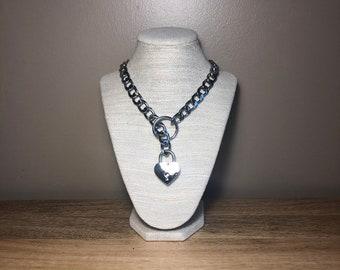 78d18ccb2 BDSM Collar, Metal Chain, Locking, Heart Shaped Lock, Choke Collar Style