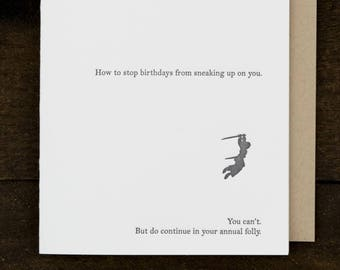Funny birthday card - letterpress card - sneaky ambush