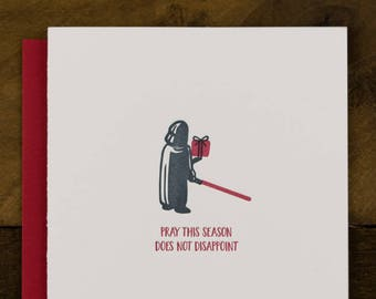 Star Wars themed Christmas Card - Letterpress Greeting Card - Darth Vader