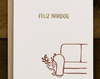 Dog lovers christmas greeting card, letterpress