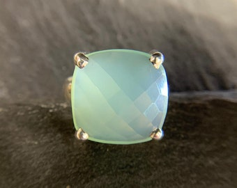 Gem size Aqua chalcedony ring 30*18 mm faceted cushion 92.5 Sterling Silver cocktail boho ring