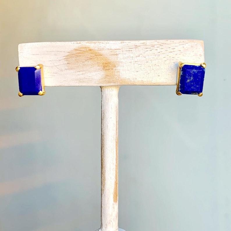 Sterling vermeil emerald cut lapis lazuli stone stud earrings