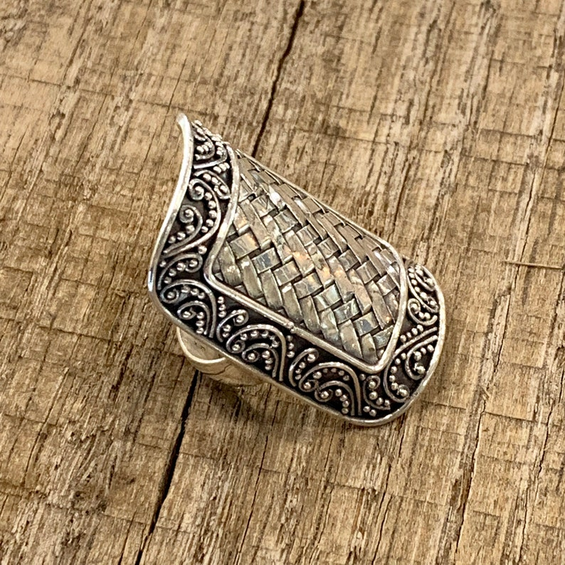Sterling Bali woven ring