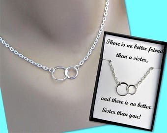 There Is No Better Friend Than A Sister, Two Eternity Circles, Sterling Silver Infinity Necklace