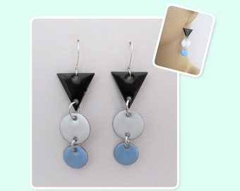 Black, White and Sky Blue Triangle and Circles Geometric Enamel Sterling Silver Long Earrings