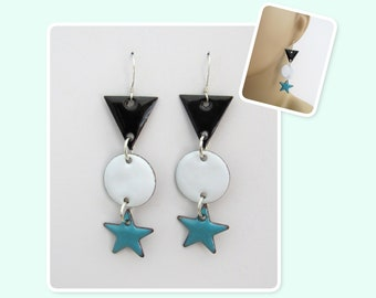 Black, White and Teal Triangle, Circle and Star Geometric Enamel Sterling Silver Long Earrings