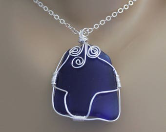 Genuine Deep Blue Glass Wire Wrapped Pendant with Sterling Silver Chain, One Of A Kind Pendant, Beach Glass Pendant