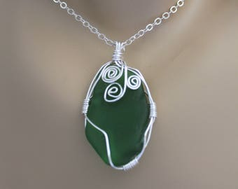 Genuine Green Sea Glass Wire Wrapped Pendant with Sterling Silver Chain, One Of A Kind Pendant, Beach Glass Pendant