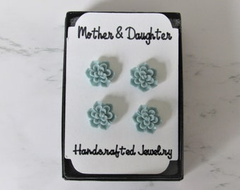 Mother and Daughter Millefiori Post Earrings Big Sister Little Sister 1000 Flowers Red Green White Nickel Free