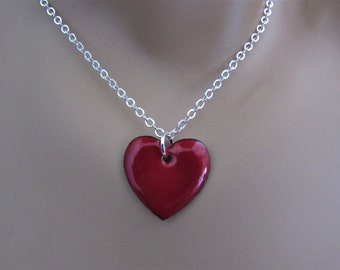 Flame Red Heart Enamel Sterling Silver Necklace