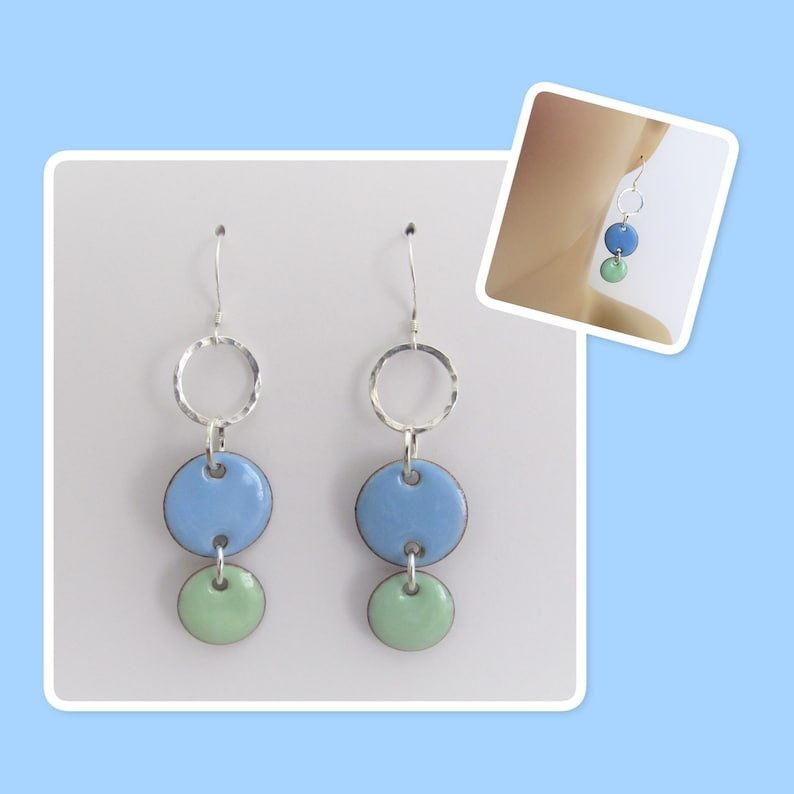 Sky Blue and Mint Green Circle Geometric Enamel Hammered Sterling Silver Circle Earrings