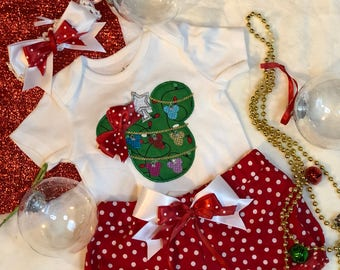 Disney Christmas Minnie Tree girl set-Christmas celebration outfit-My first Christmas onesie set- Personalize baby name set