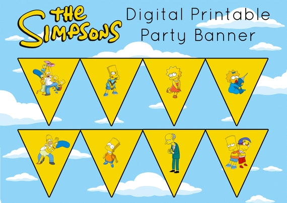 The Simpsons Party Birthday Banner Bunting Lisa Bart Maggie Homer Van Houten Digital Instant Download Digital Printables Diy