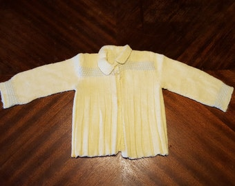 Vintage Yellow Baby Doll Wool Cardigan Sweater, Handmade Baby Clothes, Vintage Wool Knit Sweater