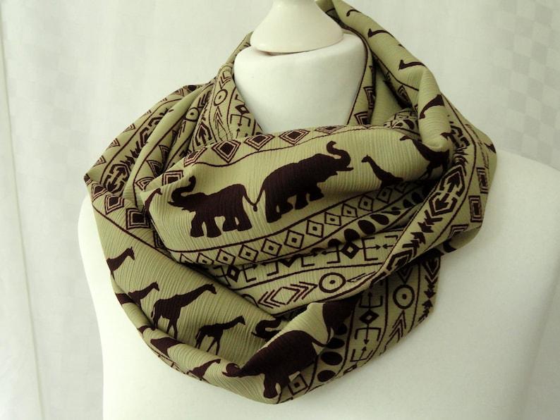 ee28b4df34f Giraffe and Elephant print infinity scarf, Animal print infinity scarf,  Ethnic print scarf, Scarf with giraffe and elephant print