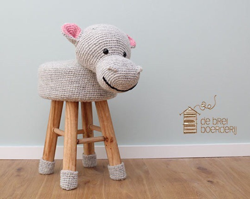 100% lana uncinetto animali sgabello ippopotamo etsy