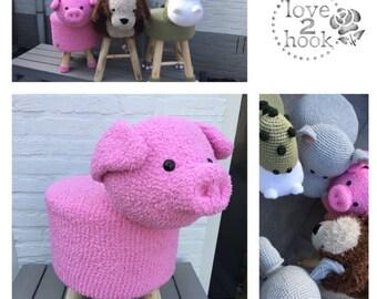 Animal Stool pig crocheted