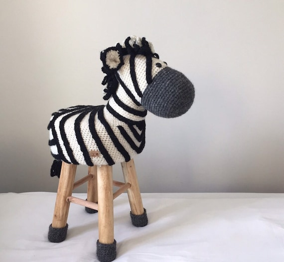 Animal Stool Zebra Crochet 100 Wool Etsy