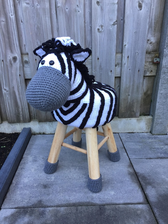 Animal Stool Zebra Crochet Etsy