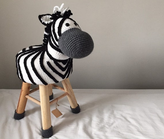 Animal Stool Zebra Crocheted Etsy