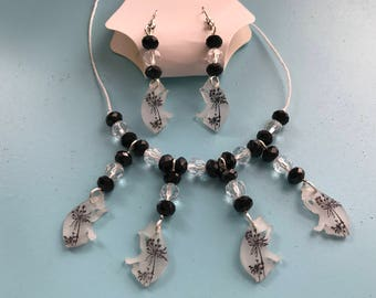 Cleaning Kitty Necklace and Earring Set
