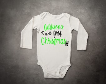 Name First Christmas Baby Onesie