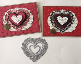 on ribbon ,card toppers 5 xset of 3 heart balloons, die cut. paper craft