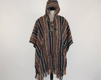 df740a09c435df Heavy 100% brushed cotton hooded Poncho - Made In Nepal
