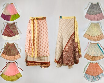 Sari Silk double layer reversible fabric Wrap Skirt - Maxi Boho Hippy Festival free size - Made in Nepal