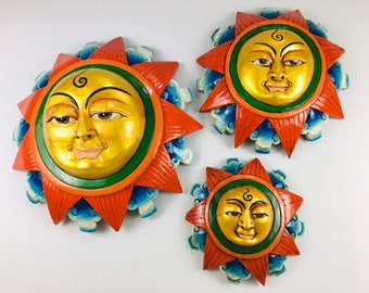 Wooden Hand Painted Sun Mask Buddhist Wall Hanging - Made New In Nepal