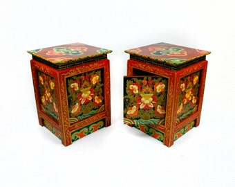Traditional Tibetan Reproduction Bedside Cabinets (Set Of 2) - Made In Nepal