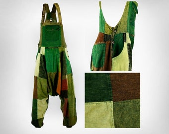 Various Designs - Size Small - 100% COTTON Heavy Patch Harem / Ali Baba - Dungarees / Jump Suit