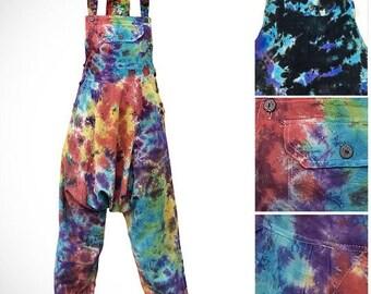 100% COTTON Tie Dye Harem / Ali Baba - Dungarees / Jump Suit - Dark and Light Tie Dye Options