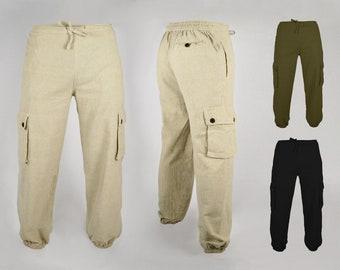 100% COTTON Harem Sweat Cargo Pants Trousers Joggers - All Sizes