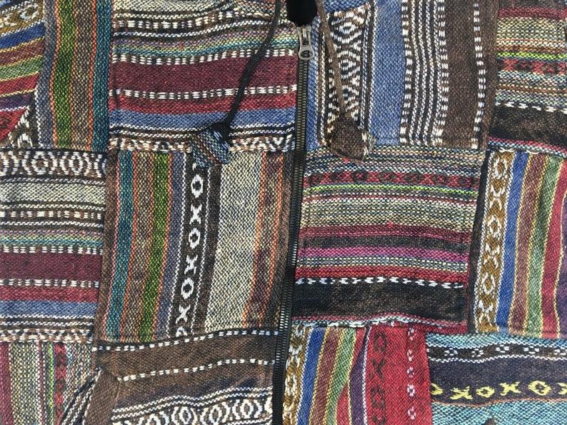Medium Fleece Lined Cotton Patchwork Hooded Full Zip Jacket Made In Nepal