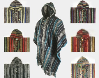 Heavy 100% Woven and Brushed Cotton Hooded Hoodie Poncho (ONE SIZE) - Made In Nepal