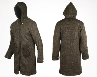 S/M/L/XL - Cosy 3/4 length Woollen Fleeced Lined Stylish Hooded Jacket Cardigan Sweater - Made In Nepal