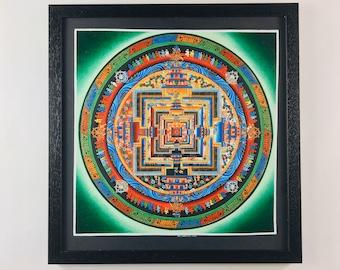 Tibetan Mandala Thangka Art - Authentic Framed Buddhist Painting - Chandra Lama