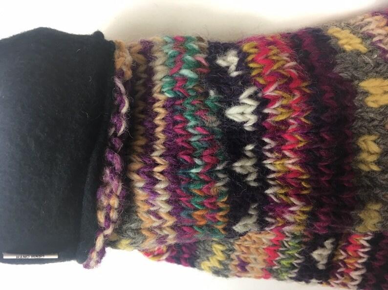 Size Medium UK 5-7  Extra Warm Cosy Woollen Fleece Lined Socks Made In Nepal