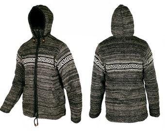 Woolen Fleeced Lined Hooded Jacket Cardigan Sweater Double Knitted Hoodie - Made In Nepal