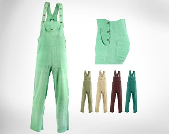 100% COTTON Slim Fit Straight Leg Dungarees / Jump Suit - Loose Ankles