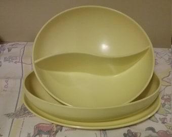 Vintage 1950's Melmac SunnyYellow 3pc Serving  Set Dishes