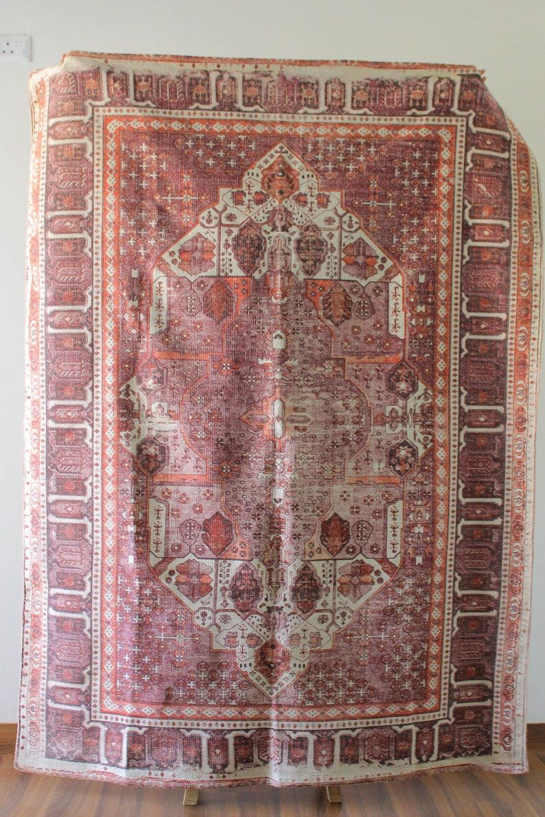 4 X 6 Vitange Style Kilim Rug Vintage Printed Dhurrie Rug Block Print Cotton Rug Traditional Oriental Turkish Indian Home Decor