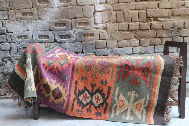 Handmade KILIM Rug Multicolor Jute Rug wool rug Kilim image 0
