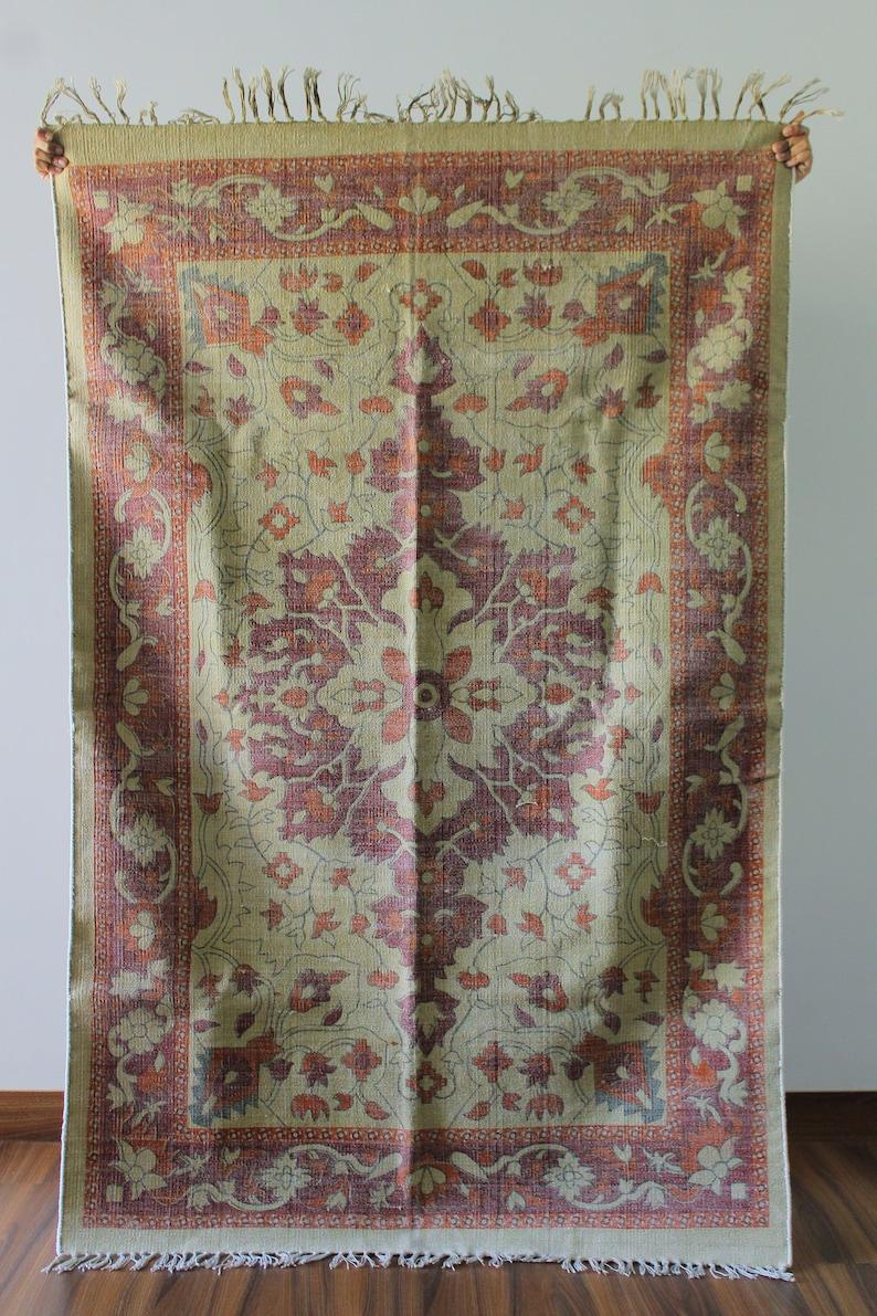3 X 5 Vitange Style Kilim Rug Vintage Printed Dhurrie Rug Block Print Cotton Rug Traditional Oriental Turkish Indian Home Decor